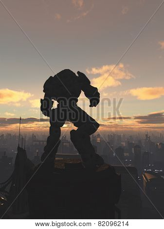 Future City - Robot Sentinel at Sunset