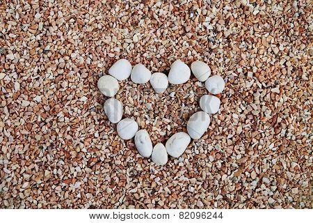 Pebble Arrange In Heart