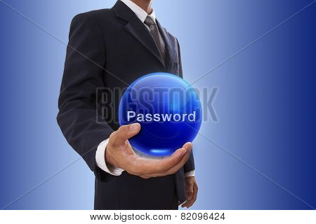 Businessman with password word.