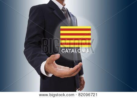 Businessman hand showing Catalonia Flag