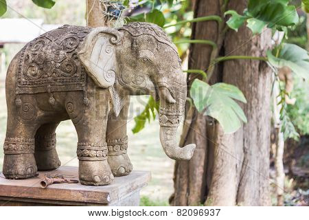 Elephant Clay Doll Decorated In Garden