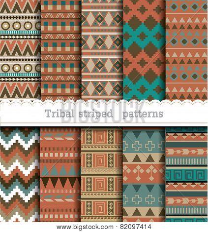 Tribal striped seamless patterns.