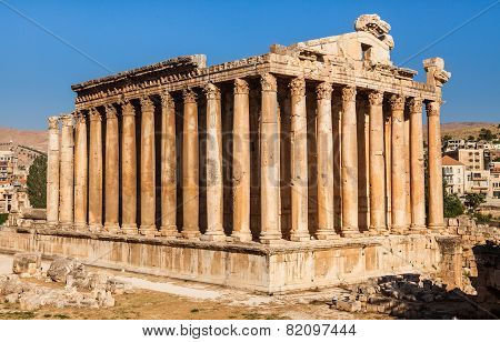 Temple of Bacchus in Baalbek ancient Roman ruins Beqaa Valley of Lebanon