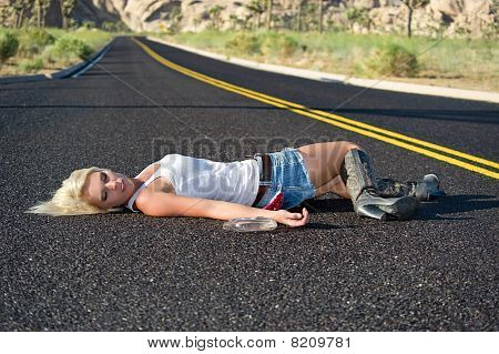 Blond Drunk On Highway