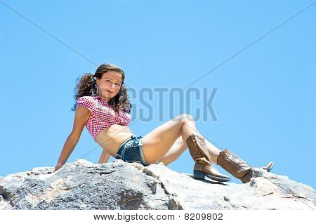 Sexy Woman On Mountaintop