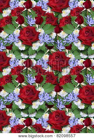 Background  from bouquet of red roses with asters  and  periwinkle