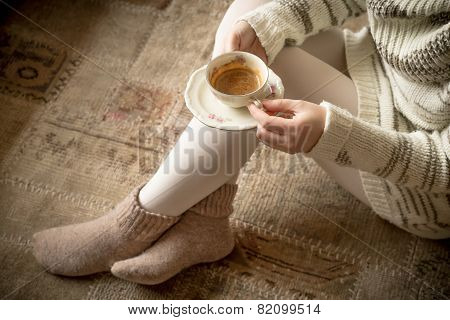 Coffe Cup In Woman's Hands