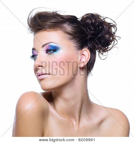 Woman With Bright Vibrant Make-up