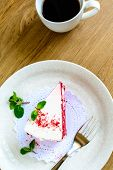 pic of red velvet cake  - Close up of Red velvet cake and coffee on wooden table - JPG