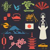 stock photo of japanese flag  - Japan icons and symbols set - JPG