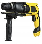 picture of hammer drill  - professional rotary hammer with a drill on white background - JPG