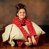 stock photo of poka dot  - A happy preteen in red poka - JPG