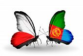 stock photo of eritrea  - Two butterflies with flags on wings as symbol of relations Poland and Eritrea - JPG