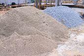 stock photo of sand gravel  - piles gravel used for material construction site - JPG
