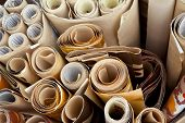 stock photo of flea  - Vintage and weathered wallpaper in a flea market - JPG