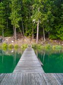 pic of dock a lake  - A view of a lake dock taken looking towards shore - JPG