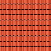 pic of red roof  - Red corrugated tile element of roof - JPG