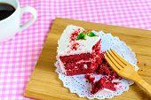 pic of red velvet cake  - Close up of Red velvet cake on table - JPG