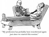 picture of transformation  - Cartoon of businessman in therapy - JPG