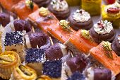 stock photo of buffet  - Various toast and canapes on a buffet - JPG