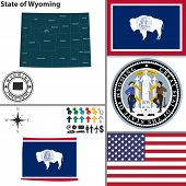 picture of casper  - Vector set of Wyoming state with flag and icons on white background - JPG