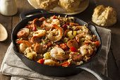 picture of creole  - Spicy Homemade Cajun Jambalaya with Sausage and Shrimp - JPG