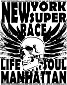 stock photo of cranium  - Newyork skull Vintage college design man t - JPG