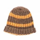 foto of knitted cap  - Brown knitted head cap with the orange stripes - JPG