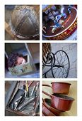 stock photo of flea  - Various objects on a flea market collage - JPG