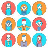 picture of programmers  - Businessman Male and Female Avatars Director Businesswoman Designer Programmer Geek Hipster character concept line icons set vector illustration - JPG