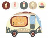 picture of bus driver  - Ice cream cartoon bus with ice cream icons - JPG