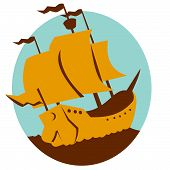 foto of galleon  - vector illustration of a sailing ship galleon done in art deco retro style - JPG