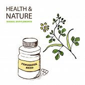 stock photo of fenugreek  - Health and Nature Supplements Collection - JPG
