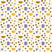 picture of silkscreening  - Vector coffee seamless pattern color and fun - JPG