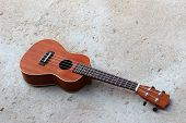 picture of ukulele  - an ukulele lay down on the concrete floor - JPG