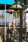 pic of gulf mexico  - Strands of seashells hanging from lamp posts at a beach along the Gulf of Mexico - JPG