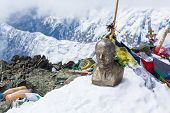 picture of lenin  - Leinin head statue at the top of Lenin Peak Pamir Mountains Kyrgyzstan - JPG
