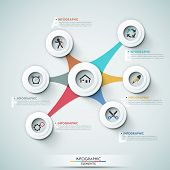 foto of web template  - 3d modern infographic options template with white circle shapes for 7 options - JPG