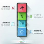 picture of parallelepiped  - Modern infographics options banner with 4 realistic colorful blocks with rounded edges - JPG