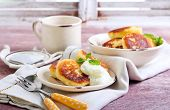 pic of patty-cake  - Cottage cheese pancakes syrniki with yogurt on plate - JPG