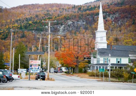 Exterior Of Small Town Church In Fall