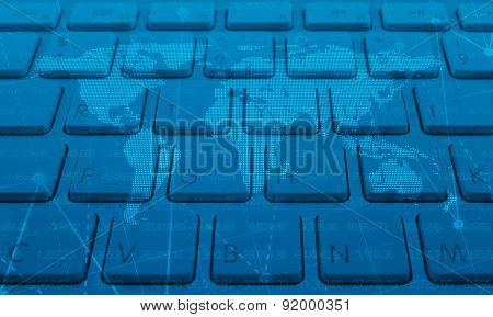 Map And Graph On Keyboard, Global Business Concept, Elements Of This Image Furnished By Nasa