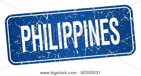Philippines Blue Stamp Isolated On White Background