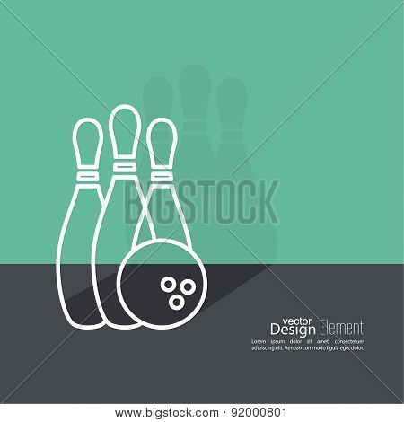 Bowling. Vector abstract background.