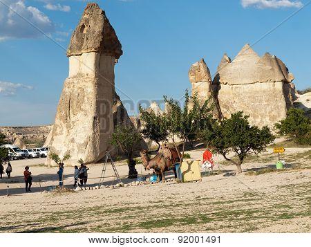 GOREME, TURKEY - JUNE 16, 2014: Rock formations in Goreme National Park . Cappadocia.Turkey