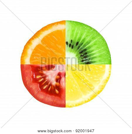 Slices Of Fruit And Tomato