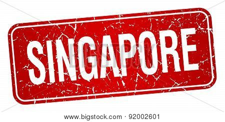 Singapore Red Stamp Isolated On White Background