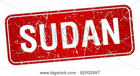 Sudan Red Stamp Isolated On White Background