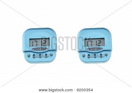 small digital clock on white