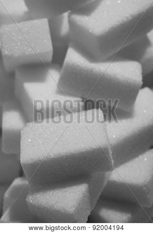 Isolated Pile Of Sugar Cubes Close Up View In Sweet Nutrition And Diet Concept